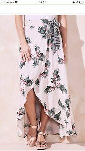 Capsule STONE IVORY Floral Mock Wrap Tie Waist Maxi Skirt size 26