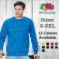 Mens Sweatshirt Fruit of the Loom Classic Sweat Pullover Plain Jumper Sweater