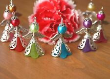 KIT 20 Mix Angel Charms Pendants Frosted Flower Beads Wings COLOURS MAY VARY