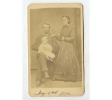 Cdv Portrait Of Young Family, May 2 1872, Macomb, Illinois By Danley