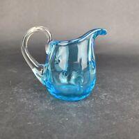 Vintage Hand blown Blue Glass Vase Mini Pitcher Creamer Pinched Pattern
