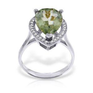 Genuine Green Amethyst Pear Gemstone Diamonds Ring 14K. Yellow, White, Rose Gold