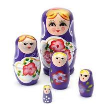 5pcs Purple Dolls Set Wooden Russian Nesting Babushka Matryoshka Hand Painted