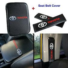 TOYOTA Carbon Fiber Car Center Armrest Cushion Mat Pad Cover Combo Set