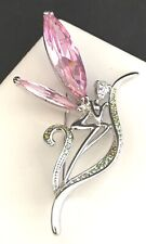 Kirks Folly Pin Brooch Nude Fairy Large Pink Crystal Wings Pave Crystals Rare 4v
