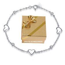 ❤️ Herz Damen-Armband Echt 925 Sterling Silber Zirkonia Weiß Geschenk für Frauen