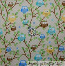 BonEful Fabric FQ Flannel Cotton Quilt Brown White Dot OWL Tree Bird Leaf Green