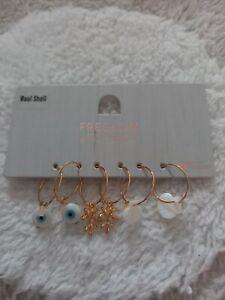 Topshop Freedom Set Of 3 Gold Hoop Charm Earrings