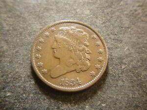 1834 VF  Classic Head Half Cent Coin GSX