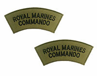 Pair Royal Marines Commando Black on Olive Green Shoulders Flashes / Titles