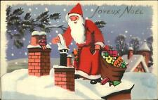 Christmas Santa Claus Paper Cut-Out 3D Effect French Postcard