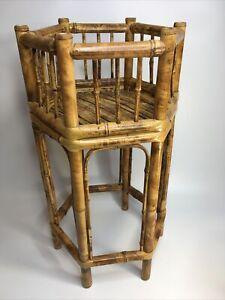 Vintage Bamboo Hexagon Tortoise Shell Plant Stand Side Table Rattan Tiki