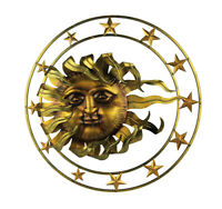 Golden Metal Celestial Sun and Stars Wall Sculpture