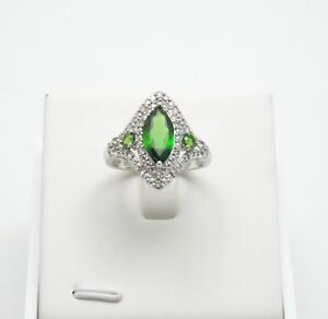 Stunning Chrome Diopside & White Topaz 2.47CTW Sterling Silver Ring - size 9
