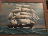 Vintage paint by numbers painting Ocean boat ship nautical scene 24 x 18 pbn