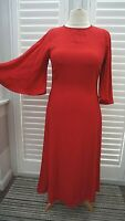 Finery Long Red Dress Flared Sleeves Occasion Christmas - Size 10