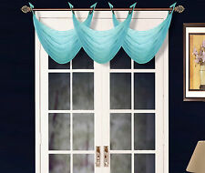 1 ELEGANT GROMMET VOILE SHEER VALANCE SWAG TOPPER WINDOW DRESSING K36 AQUA