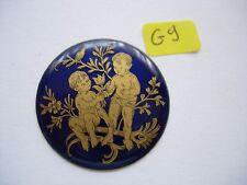 Petit médaillon émail Scene fleur émaillé cuivre bijoux montre watch pocket p9
