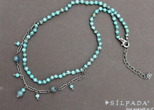 SILPADA Turquoise Howlite Kyanite 2 strand Necklace N1675 Sterling Silver Ret