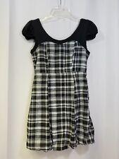 Rue 21 Small Skater Dress Black Plaid Short Cotton Cap Sleeve Zip Pouf Skirt