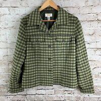 Talbots Women's 14 Petite Plaid Blazer Jacket Green Gingham Checkered Wool Blend