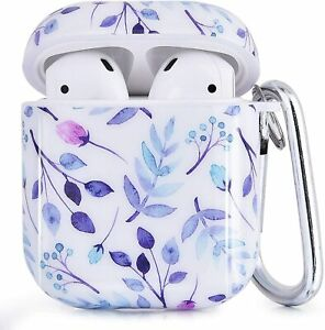 CAGOS Compatible w Airpods Case, 3 in 1 White Purple Accessories Protective Hard