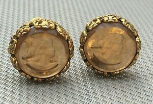 Boucles d'oreilles vintage camée verre