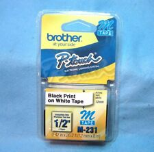 Brother M 231 P Touch 12 Adhesive Label Tape Black Print On White Tape