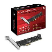 Vantec UGT-MST644R 4 Channel, 2 mSATA+2 SATA 6Gb/s PCIe RAID Card with HyperDuo