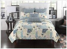 Fancy Linen Bedspread Coverlet Floral Modern Blue Beige All Sizes California King