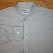 Lumina New Raleigh NC White W/ Blue Houndstooth Size Large 16.5 Dress Shirt USA