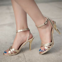 Womens Peep Toe Slingbacks Ankle Strap Stilettos Fashion High Heels New Shoes