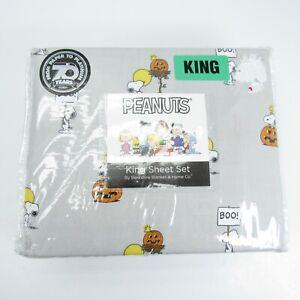 Peanuts Great Pumpkin Snoopy Halloween Berkshire Gray King Bed Sheet Set New