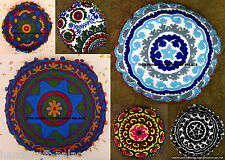 20 PC Wholesale Lot Round Suzani Embroidered Cushion Cover Indian Pillow Case