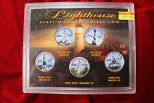 5- COLORIZED STATEHOOD QUARTERS, LIGHTHOUSES OF THE U.S. IN A PRESENTATION CASE