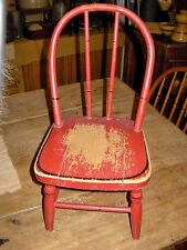 ANTIQUE PRIMITIVE BENTWOOD APPLETON CHILD'S TOY WOOD CHAIR RED PAINT