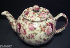1 Heron Cross Pottery Strawberry Rose Chintz English 3 Cup Tea Pot or 2 mugs