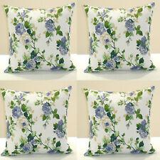 UK 4 PCS Vintage BLUE Floral Rose Chic Cotton Canvas Pillow Case Cushion Cover