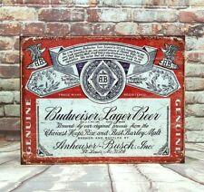 Budweiser Beer Vintage Label Metal Sign for Man Cave, Garage or Bar