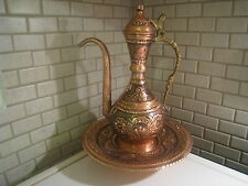 Authentic Handmade Copper Pitcher Ewer ibrik Ottoman Style 23cm Hand Engraved
