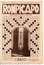 ROMPICAPO - Enigmistica - Quindicinale di giochi e passatempi - n. 17 - 1937