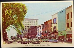 Warren Ohio West Market Street Stores Old Cars Postcard