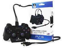 Ps3 Cargador Doble Dock Y Soporte Con Licencia Oficial Dualshock 3 Con Cable