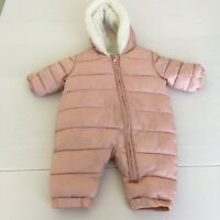 Marks and Spencer M & S Pink Snowsuit Pramsuit COAT Baby Girl 0-3 Months Puffa