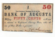 1863 The Bank of Augusta, Ga - Fifty Cent Obsolete Note