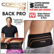 Copper Fit Back Pro Lower Back Support Lumbar Compression Belt Velcro Closure