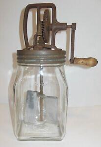 2-Quart Antique Butter Churn - Glass w/ Metal Paddles - Working