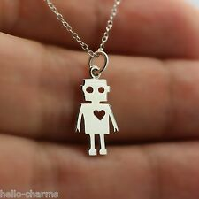 ROBOT NECKLACE - 925 Sterling Silver - Robot Love Charm Pendant Sci Fi Space NEW