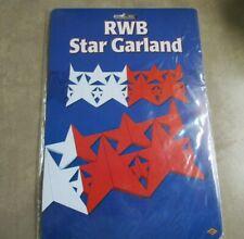 Vtg Beistle Tissue Paper 12' Star Garland Banner 3-D July 4th Decorations 1984