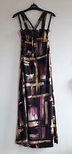 Gorgeous Black, Purple, Beige & Gold Strappy Maxi Dress by Esperance - Size 12